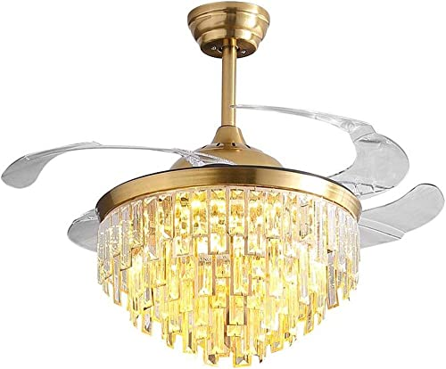 """new arrival RuiWing 42"""" outlet online sale Golden Luxury high quality Crystal Ceiling Fan with Light, Remote Control Modern 2in1 Retractable Fandelier Blades for Indoor Decoration LED 3 Color Changing(42inch) outlet online sale"""