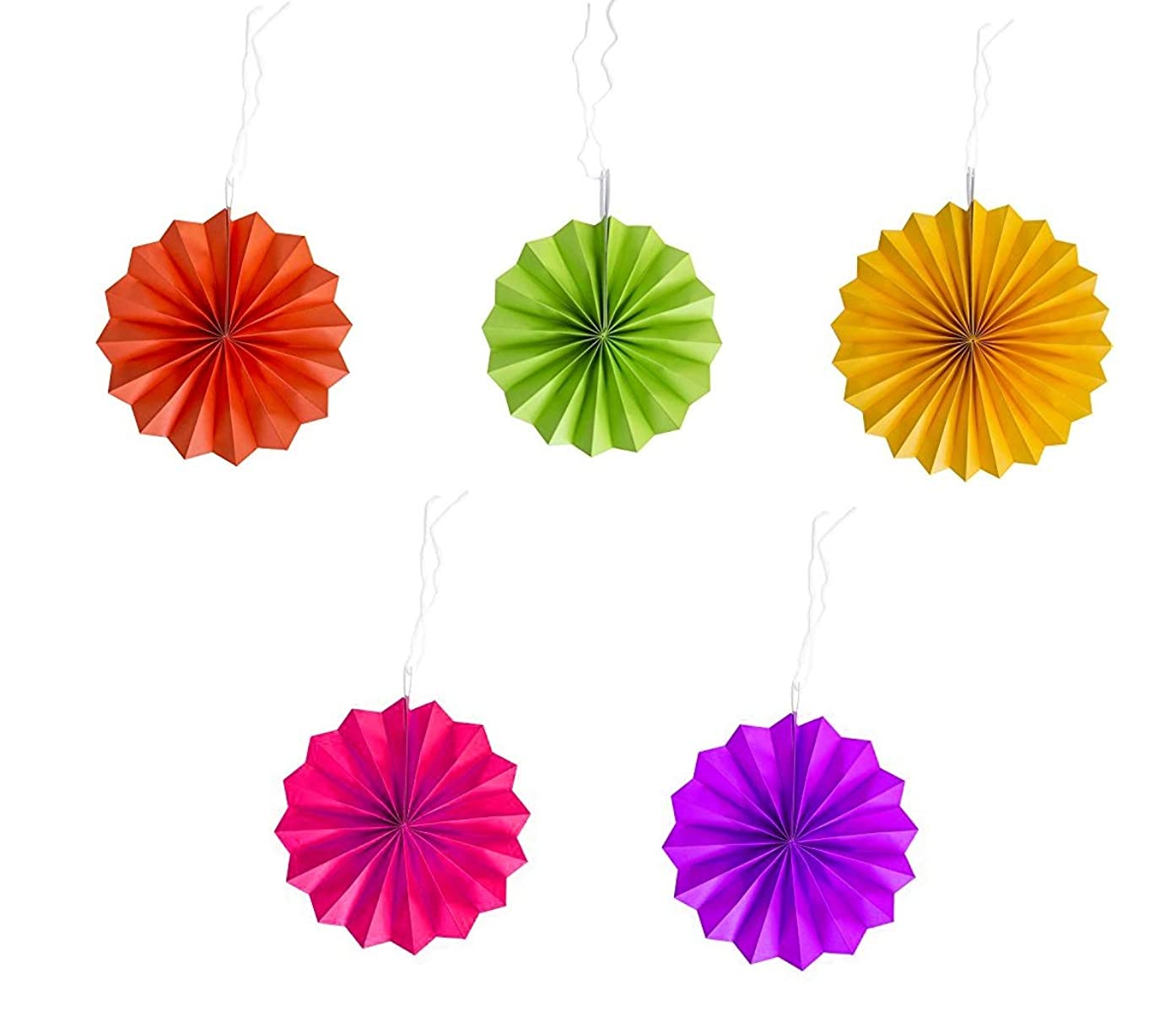 Colorful Pretty and Fun Hanging Round Mini Multicolored Pastel Fan Party Decoration, Paper, 6