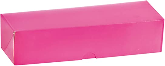 """PacknWood 210MAC7 Pink Box with Window for 7 Macarons - 8.5 x 2.7 x 1.9"""" - 250 per case"""