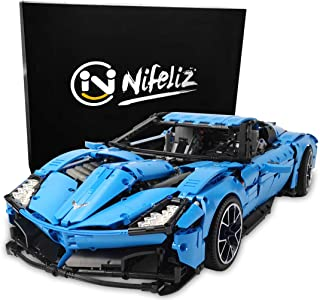 Nifeliz Racing Car Corvet MOC Building Blocks and Engineering Toy, Adult Collectible Model Cars Set to Build, 1:8 Scale Blue Race Car Model (2700 Pcs)