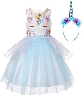R-Cloud Girls Flower Unicorn Costume Pageant Princess Halloween Dress Up Cosplay Birthday Party Dress