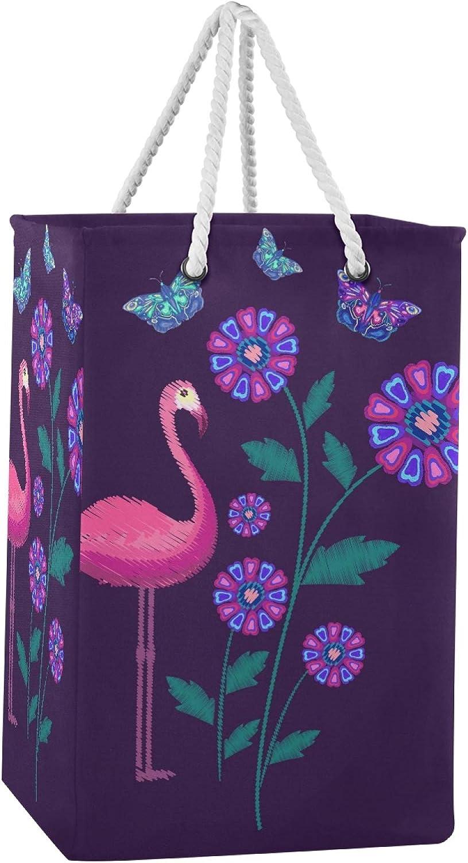 Miami Mall Purple Pink Flamingo Laundry Hamper Handles Max 67% OFF Ha Large Basket with