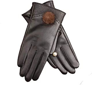 Ladies Leather Gloves Womens Touch Screen Mittens Soft Warm Velvety Lining Winter Gloves with Plush Ball Decoration (Black)