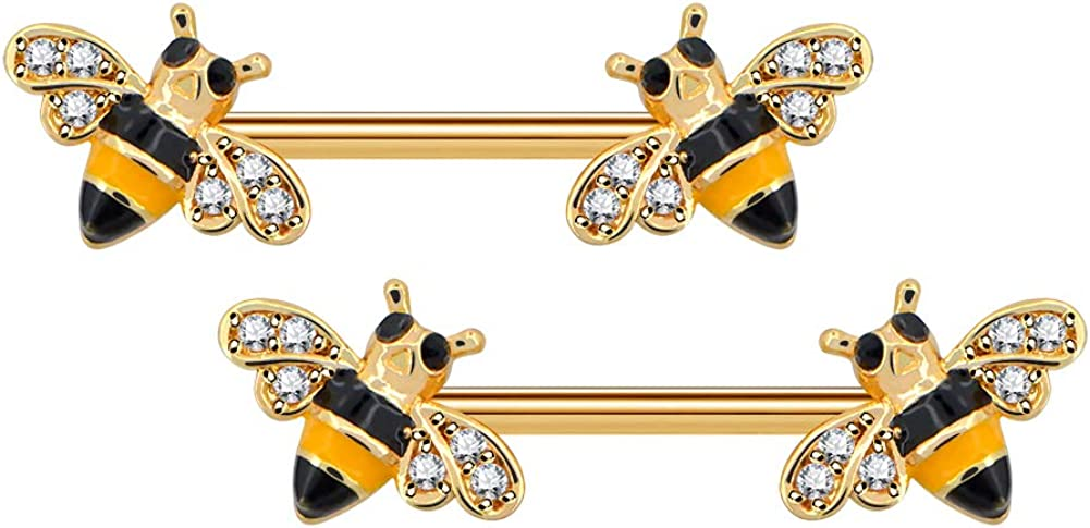 Jewseen Dainty Bee Nipple Barbell 14g Yellow Epoxy CZ Nipple Ring Surgical Steel Body Piercing Jewelry