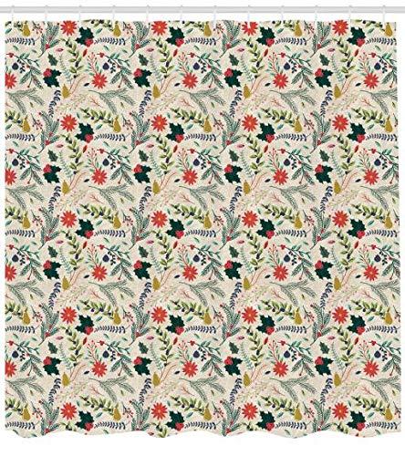 ABAKUHAUS Weihnachten Duschvorhang, Blumen von Noel Theme, Seife Bakterie Schimmel & Wasser Resistent inkl. 12 Haken & Farbfest, 175 x 200 cm, Multicolor