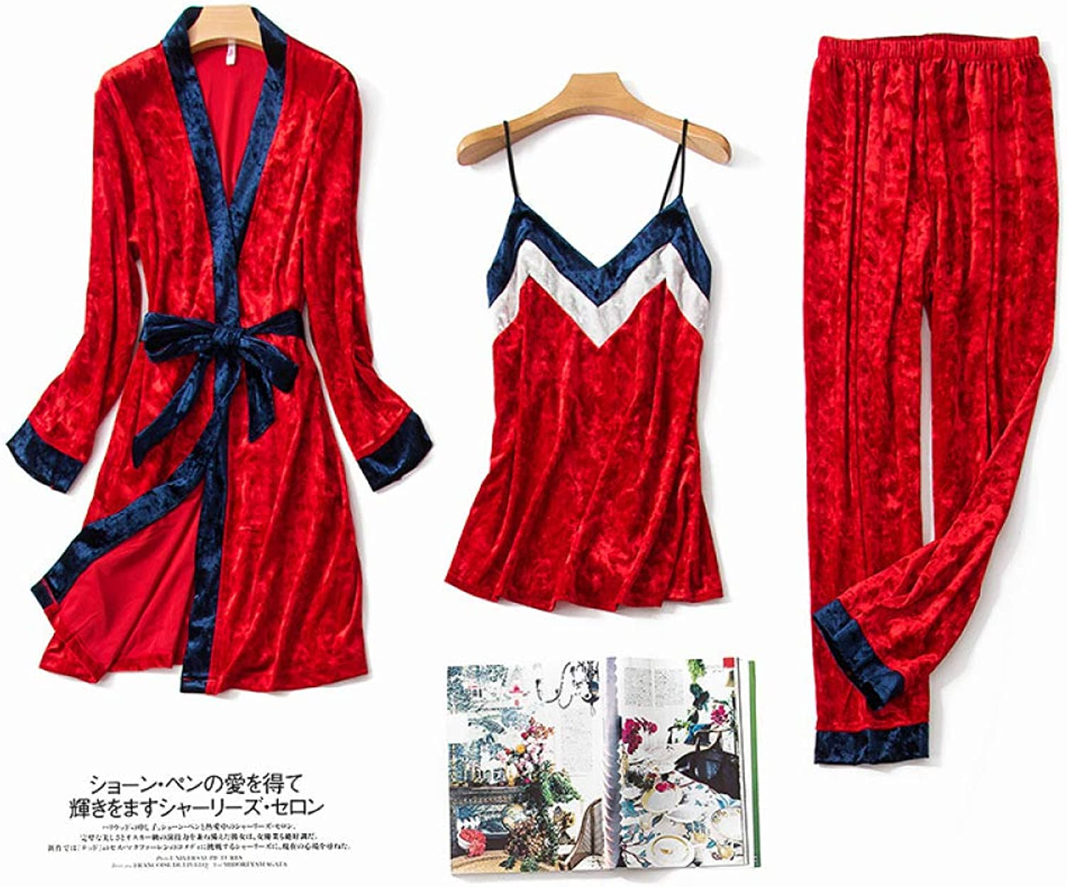 gold Velvet Comfortable Warm Pajamas, Ladies ThreePiece Autumn and Winter Sexy Sling, Trousers, Nightgown, Home Service Suit