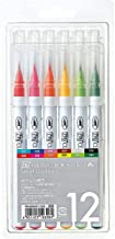 Zig Clean Color Real Brush Markers, Multicolor, 12-Pack (RB600012)