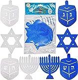 Hanukkah Glitter Cutouts - Holiday Cutouts - Star - Dreidel - Menorah - Blue and Silver (3-Pack)