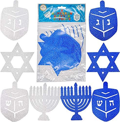 Hanukkah Glitter Cutouts - Holiday Cutouts - Star - Dreidel - Menorah - Blue and Silver (Single)
