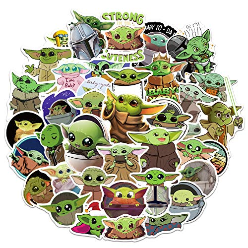 Baby Yoda Stickers 50 Pcs, Cool Mandalorian Stickers Decoration Cute Stickers Decals, Vinyl Waterproof Stickers Pack for Teens Adults Laptop Water Bottles Hydro Flask Luggage Skateboard Guitar