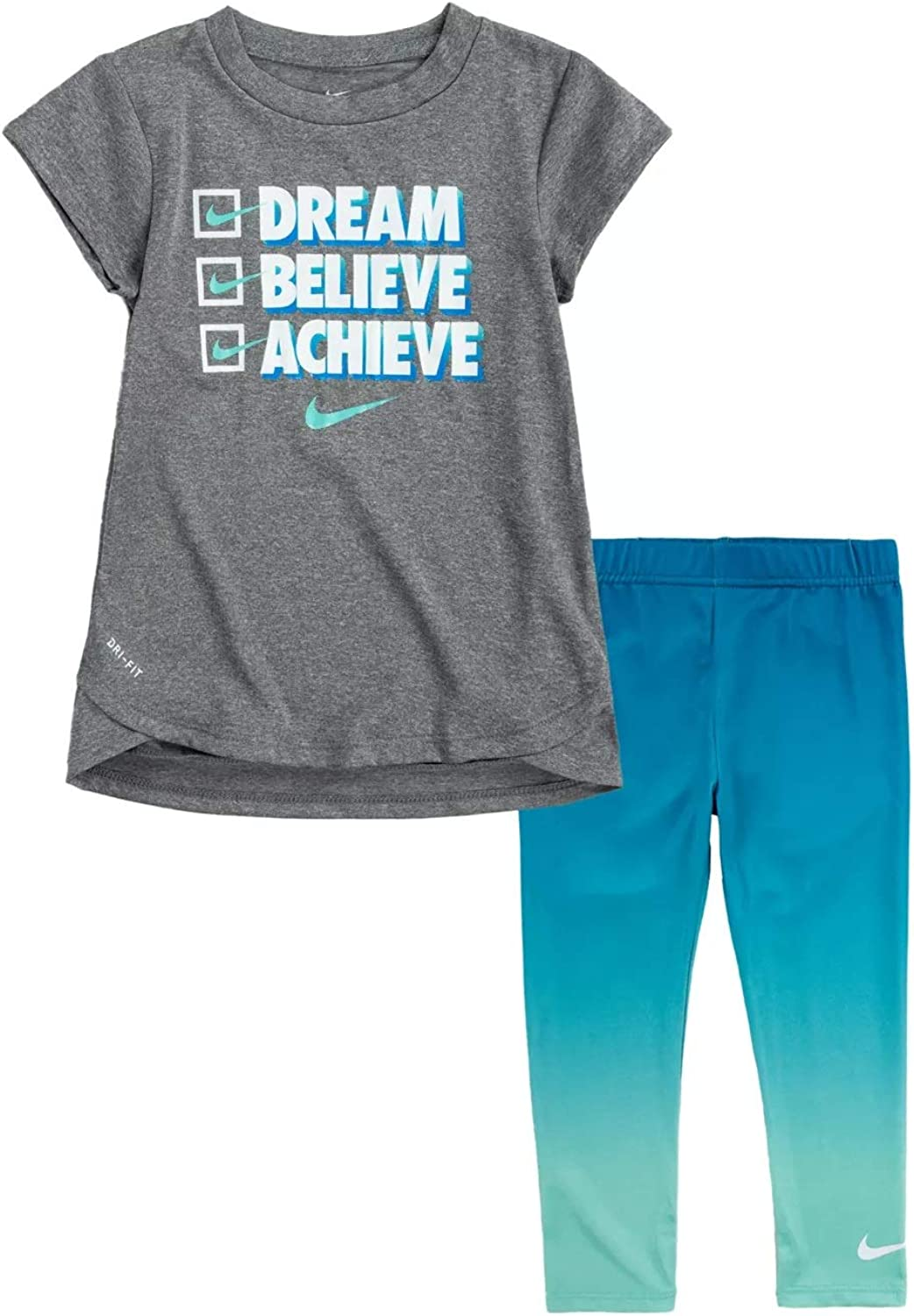 Nike Little 2021new shipping free Girls Dri FIT Tunic Leggings 2021 spring and summer new 2 Set Tee Piece