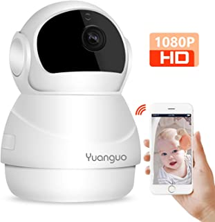 Cámara IP WiFi Yuanguo Cámara Vigilancia WiFi Interior 1080P FHD con Audio Bidireccional Visión NocturnaDetección de Movimiento Alarma Remota y App Control Monitor de Bebé/Hogar/Mascotas