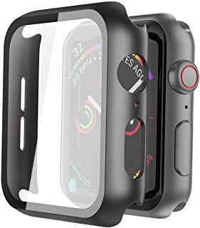 Misxi Hard PC Case with Tempered Glass Screen Protector Compatible with Apple Watch Series 6 SE Series 5 Series 4 44mm - B...