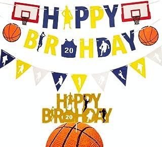 LaVenty Set of 3 Basketball Birthday Party Decoration Basketball Happy Birthday Banner Basketball Birthday Banner Basketball Birthday Party Basketball Party Decorations