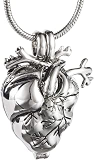 Eternally Loved Anatomical Heart Necklace Cremation Organ Pendant Urn for Memorial