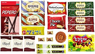 Korean Popular Snack, Cookies, Chips and Candies Variety Box (20 Count)