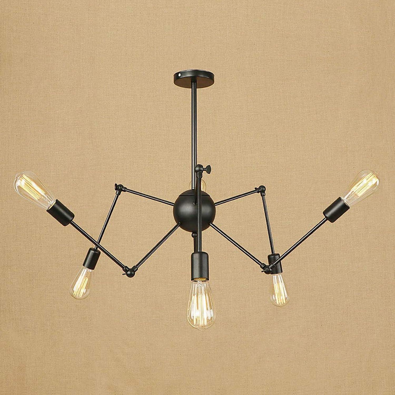 LOSA Spider Kronleuchter, Nordic minimalistisch modern Schmiedeeisen Industrial Wind einziehbaren Spider Kronleuchter kreative Persnlichkeit Retro-Lampen Multi-Kopf-Kronleuchter