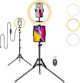 Anillo de Luz, Eletorot Aro de Luz 10 Pulgada Ring Light LED Fotográfica 3 Colores 10 Brillos con Soporte Giratorio de tel...