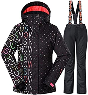 Fashion Women Ski Jacket Pants Set Breathable Waterproof and Windproof Colorful Snowboard Suit