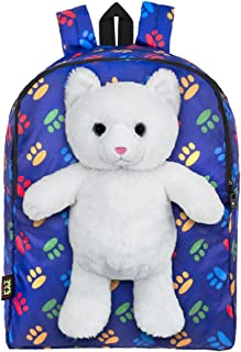 Plush Stuffed Cat Toy Doll with Pull Out Backpack, Blue, One Size