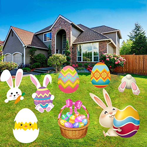 Happy Storm Easter Yard Signs 8PCS Easter Yard Stakes Happy Easter Yard Sign Easter Yard Decorations Outdoor Bunny Egg Chick Yard Signs with Stakes for Easter Egg Hunt Party Supplies Easter Props