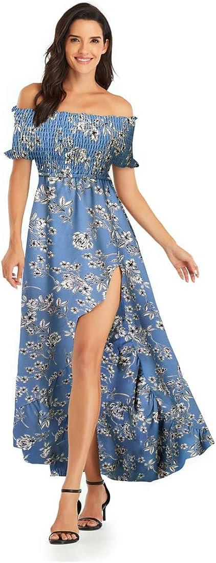 Womens Oakland Mall Off Shoulder Floral Dress Ranking TOP13 High Hem Split Low Party Maxi D