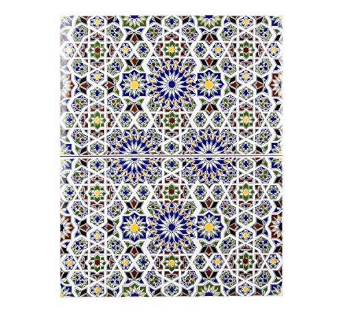 Cerames Marokkaanse wandtegels keramische tegel Oosterse Maher | 25 x 40 cm 1m2 | mozaïekpatroon, muurose tegels | Mooie decoratie in badkamer & keukenachterwand