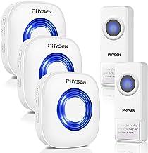 PHYSEN Draadloze deurbel, IP55 waterdicht, draadloze deurbel, 2 zenders en 3 ontvangers met 300 m bereik, 58 beltonen met ...