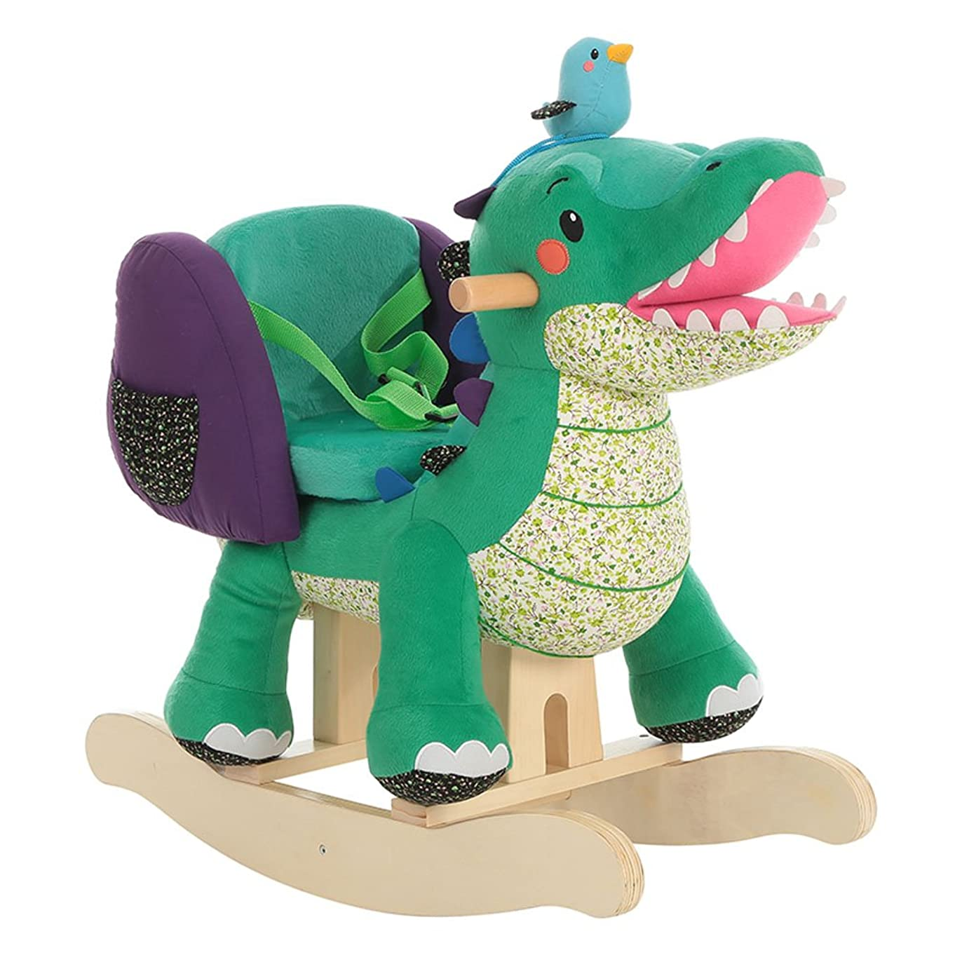 ?? Labebe Child Rocking Horse Toy, Stuffed Animal Rocker, Green Crocodile Plush Rocker Toy for Kid 1-3 Years, Wooden Rocking Horse Chair/Child Rocking Toy/Outdoor Rocking Horse/Rocker/Animal Ride on