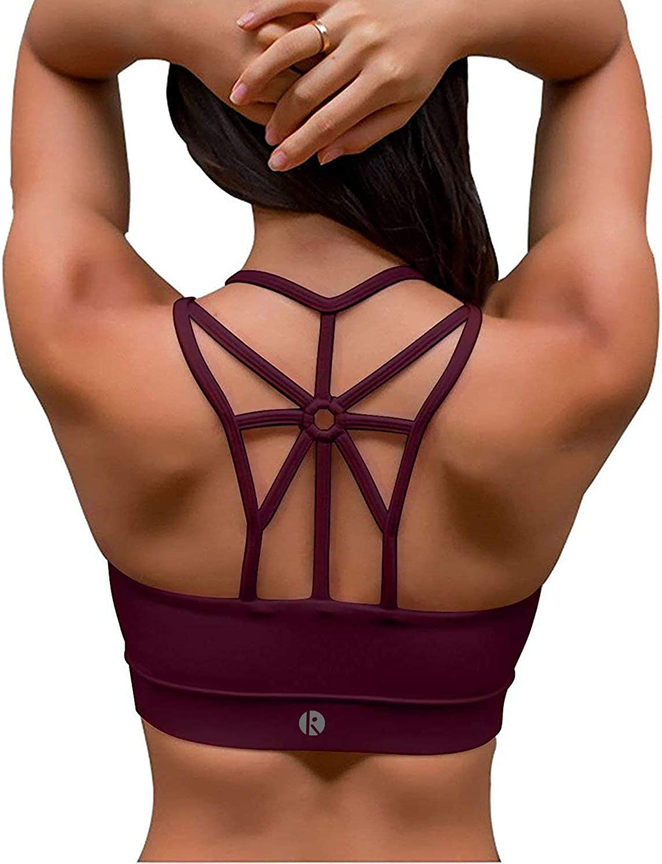 coastal rose Sports Bras for Women Cross Back Medium Support Padded Workout Running Yoga Bra