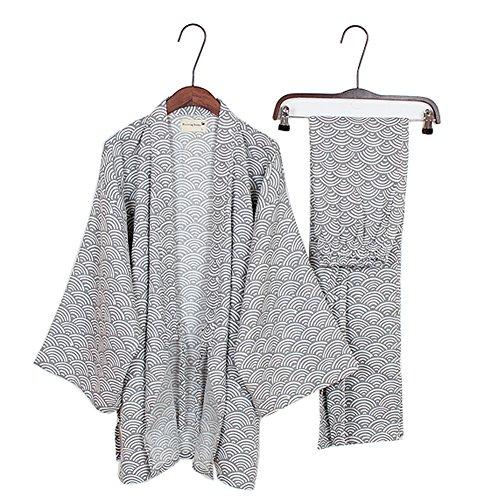 Traje de Estilo japonés para Hombre Traje de Pijama de Kimono, Gris, Ola, Talla M