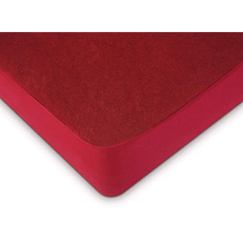 """Uppercut Waterproof Terry Cotton Mattress Protector for King Size Bed -78""""x72"""", Maroon"""