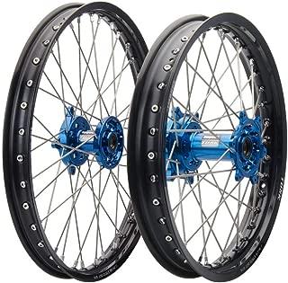 Tusk Impact Complete Front/Rear Wheel Kit 1.60 x 21 / 2.15 x 19 Black Rim/Silver Spoke/Blue Hub -Fits: Kawasaki KX450F 2006-2017