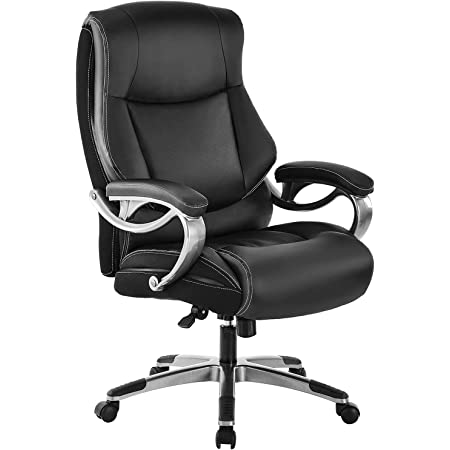REFICCER Big & Tall High Back Executive Office Chair - Bonded Leather Ergonomic Computer Desk Swivel Chair with Tilt Function, Thick Padding Headrest and Armrest