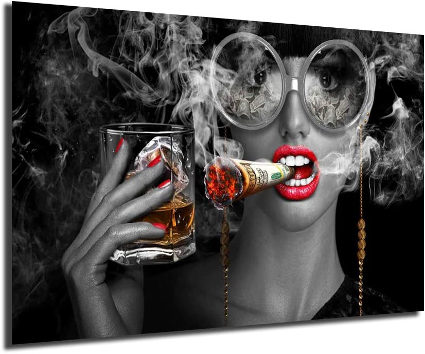 FireDeer Sexy お値打ち価格で Red Lips 新色追加 Woman Smoking Canvas Clouds Money Burning