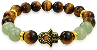 Bling Jewelry Hamsa Hand Brown Tiger Eye Dyed Green Jade Round Bead Strand Stretch Beads Bracelet for Women for Men Gold Plated Metal