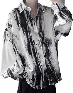 BeiBang(バイバン)メンズ 長袖 シャツ ポロネック カジュアル シャツ プリント おしゃれ 総柄シャツ ゆったり 襟付き ワイシャツ ビック ファッション トップス タイダイ染