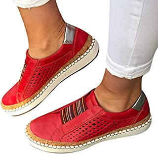 TnaIolral Women Casual Hollow-Out Shoes Round Toe Slip On Flat with Sneakers
