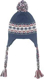 ofoot Women/Girls Winter Thick Knit Ski Hats with Ear Flaps,Dual Layered Thermal Pom Pom Caps with Braid as