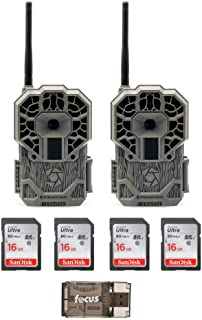 Stealth Cam GXATW Wireless Cellular 22MP Trail Camera 2-Pack/w Four Focus USB 16GB Memory Card and Reader Bundle