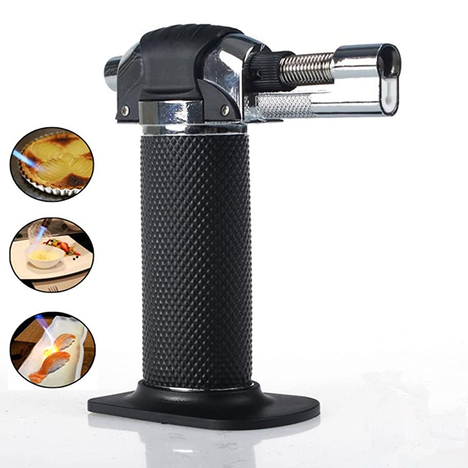Blow Torch Lighter Kitchen Butane Culinary Torch Chef Cooking Torch Refillable Adjustable Flame Lighter with Safety Lock for DIY, Creme, Brulee, BBQ and Baking, Butane Gas Not Included, Black