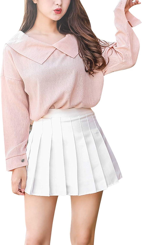 Women Girls High Waist Pleated Skirt A-line Skater Tennis School Uniform Mini Skirt Casual Solid Color Basic Skirts