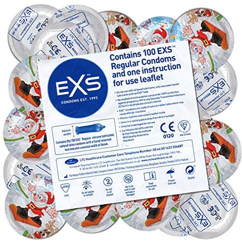 EXS Xmas - 100 Kondome mit Weihnachts-Design, Weihnachtskondome, Geschenkidee, Kondomvorrat