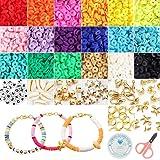 Juguete de Cuentas Coloridas Abalorios Hacer Pulseras Collar de Bricolaje Cuentas de Arcilla de Joyas DIY Manualidad Fabricación de Joyas para Niños Adultas