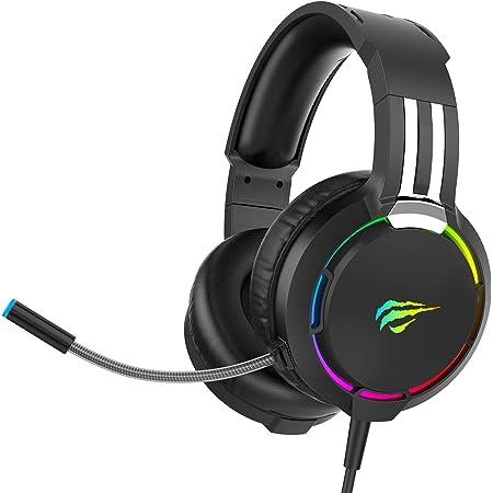 Auriculares Gaming para PS4 HAVIT Iluminación RGB Cascos Gaming Sonido Envolvente, Controlador de 50MM y micrófono con reducción de Ruido para Xbox One/PC/Móvil (2010d,Negro)