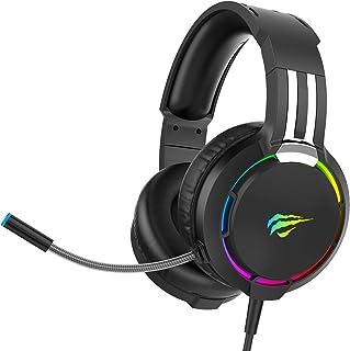 Auriculares Gaming para PS4 HAVIT Iluminación RGB Cascos Gaming Sonido Envolvente, Controlador de 50MM y micrófono con red...