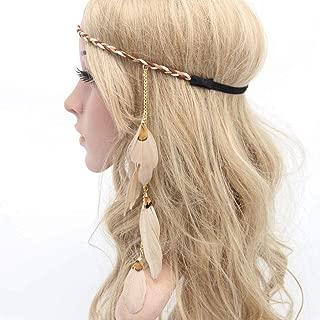 Sumddy Boho Chic Feather Hair Band Indian Princess Feather Tassels Headband Romany Hippie Headdress Hair Clip Handmade