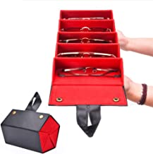 Multiple Leather Sunglasses Travel Organizer Case Foldable Eyeglasses Storage Box Portable Eyewear Display Containers