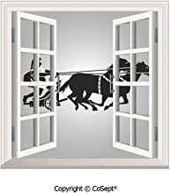 SCOXIXI Removable Wall Sticker,Mythological Chariot Gladiator with Horse Traditional Greek Culture Image Decorative,Window Sticker Can Decorate A Room(25.86x22.63 inch)