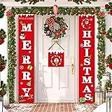 LOBKIN Decorazioni di Natale Outdoor Indoor - 2 Pezzi di Benvenuto Buon Natale Portico Segno Banner Door - Benvenuto Decorazioni per Porta di Natale Decor (150 * 25CM)